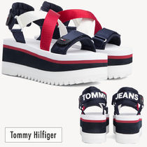 Tommy Hilfiger Open Toe Platform Casual Style Street Style Bi-color