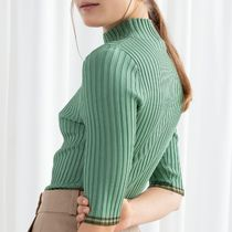 & Other Stories Casual Style Rib Cropped Plain Medium High-Neck Tops