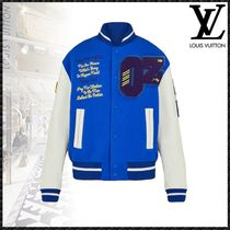 Louis Vuitton Street Style Bi-color Leather Varsity Jackets
