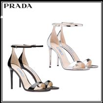 PRADA Open Toe Plain Leather Pin Heels Elegant Style