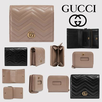 67489931720 GUCCI GG Marmont 2019 SS Plain Leather Folding Wallets by momochani ...