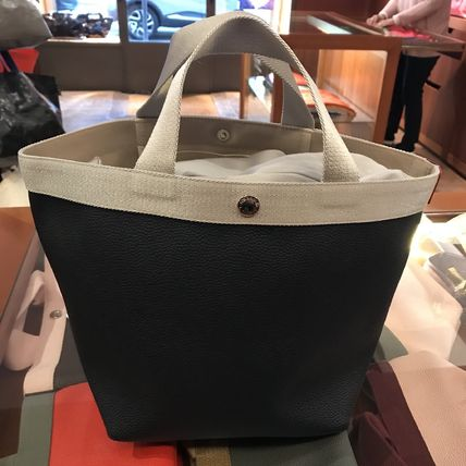 Casual Style Canvas Blended Fabrics Plain Totes