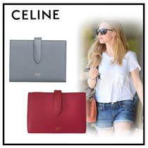 CELINE Strap Calfskin Plain Folding Wallets