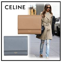 CELINE Tri Fold Calfskin Plain Folding Wallets