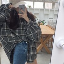 Other Check Patterns Long Sleeves Oversized Shirts & Blouses