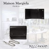 Maison Martin Margiela Unisex Calfskin Chain Plain Folding Wallets
