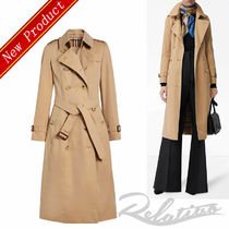 Burberry Tartan Plain Long Elegant Style Trench Coats
