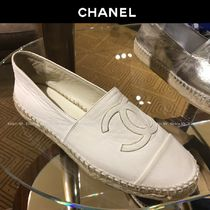CHANEL Platform Round Toe Casual Style Espadrille Shoes