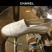 CHANEL Platform Round Toe Casual Style Logo Espadrille Shoes
