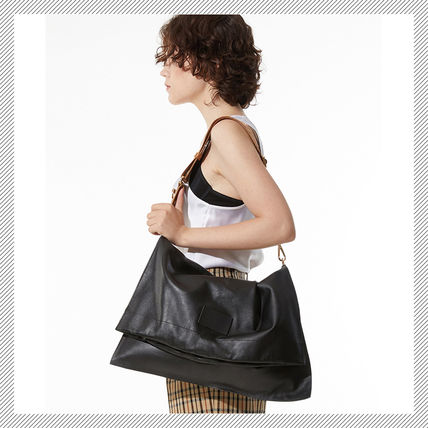 Casual Style Unisex A4 Plain Leather Shoulder Bags