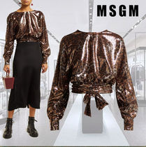 MSGM Leopard Patterns Long Sleeves Shirts & Blouses