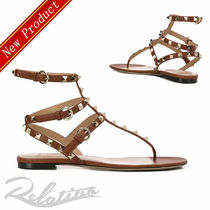 VALENTINO Open Toe Studded Plain Leather Elegant Style Sandals