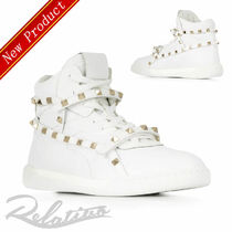 VALENTINO Round Toe Rubber Sole Lace-up Casual Style Studded