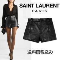 Saint Laurent Short Blended Fabrics Plain Leather Elegant Style