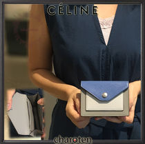 CELINE Pocket Trifolded Unisex Calfskin Bi-color Plain Card Holders