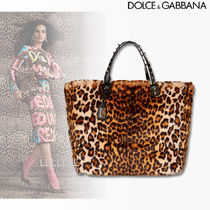 Dolce & Gabbana Leopard Patterns Faux Fur A4 Elegant Style Totes