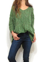 Cable Knit Casual Style V-Neck Cropped Knitwear