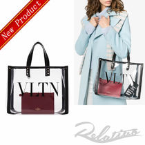 VALENTINO Studded A4 Plain Crystal Clear Bags PVC Clothing