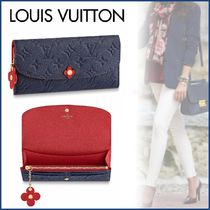Louis Vuitton PORTEFEUILLE EMILIE Monogram Blended Fabrics Bi-color Leather Long Wallets