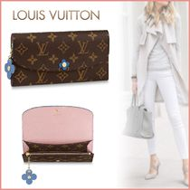 Louis Vuitton PORTEFEUILLE EMILIE Monogram Canvas Blended Fabrics Studded Bi-color