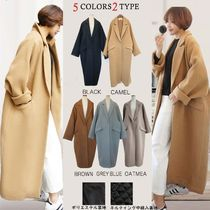 Casual Style Wool Street Style Plain Medium Long