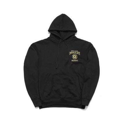 Street Style Long Sleeves Plain Logo Hoodies