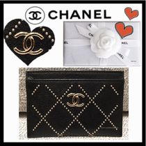 CHANEL MATELASSE Unisex Lambskin Studded Plain Card Holders