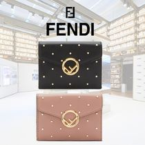 FENDI Calfskin Blended Fabrics Studded Plain Folding Wallets