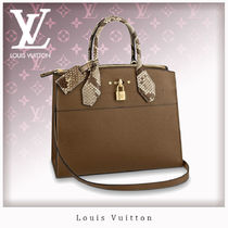 Louis Vuitton CITY STEAMER 2WAY Leather Python Handbags