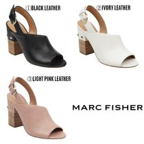 MARC FISHER Open Toe Studded Leather Heeled Sandals