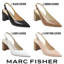 MARC FISHER Plain Leather Pointed Toe Pumps & Mules