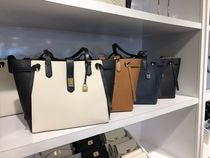 Michael Kors A4 Bi-color Plain Leather Office Style Oversized Totes