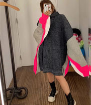 Cable Knit Casual Style Dolman Sleeves Street Style Bi-color