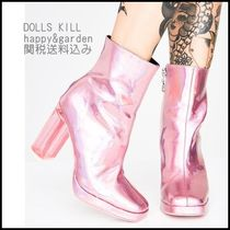 DOLLS KILL Square Toe Casual Style Plain Block Heels