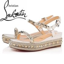 18033397f408 Christian Louboutin Pyraclou Blended Fabrics Studded Leather Party Style