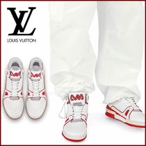 Louis Vuitton Blended Fabrics Street Style Bi-color Plain Sneakers