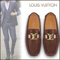 Louis Vuitton Plain Toe Loafers Blended Fabrics Street Style Bi-color