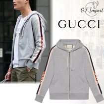 GUCCI Street Style Long Sleeves Cotton Logos on the Sleeves