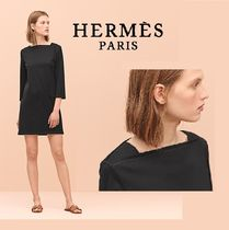 HERMES Short Casual Style Cropped Plain Cotton Dresses