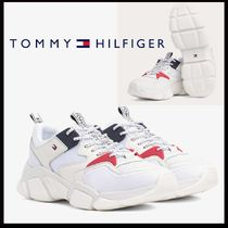 Tommy Hilfiger Plain Toe Lace-up Casual Style Plain Leather Chunky Heels