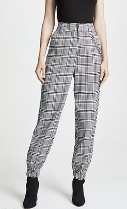 Glen Patterns Zigzag Casual Style Chain Long Pants