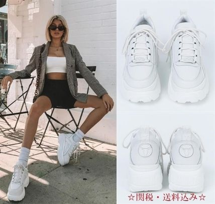 Platform Casual Style Street Style Plain Leather