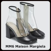 MM6 Maison Margiela Plain Block Heels PVC Clothing Elegant Style