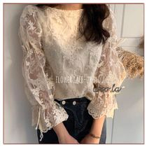 Flower Patterns Lace-up Medium Lace Puff Sleeves
