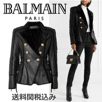 BALMAIN Short Fur Blended Fabrics Plain Fur Leather Jackets
