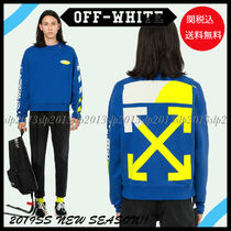 Off-White Crew Neck Unisex Blended Fabrics Long Sleeves Cotton