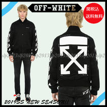Off-White Short Unisex Wool Blended Fabrics Plain Varsity Jackets