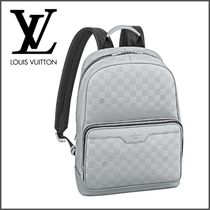 Louis Vuitton DAMIER INFINI Other Check Patterns Unisex Street Style A4 Plain Leather