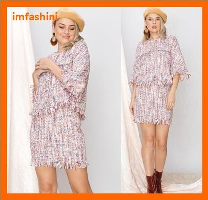 Short Other Check Patterns Tweed Long Sleeves Dresses