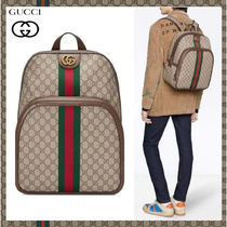 GUCCI Monogram Unisex Canvas Backpacks